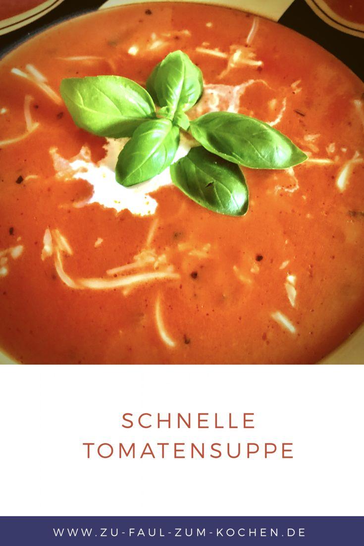 Schnelle Tomatensuppe  Wenn es mal schnell gehen muss aus irgendwelchen Gründen weil man vielleicht zu viel um die Ohren hat. Dann ist diese Schnelle Tomatensuppe genau das richtige. Falls man trotz des Zeitmangels etwas warmes und leckeres Essen möchte.