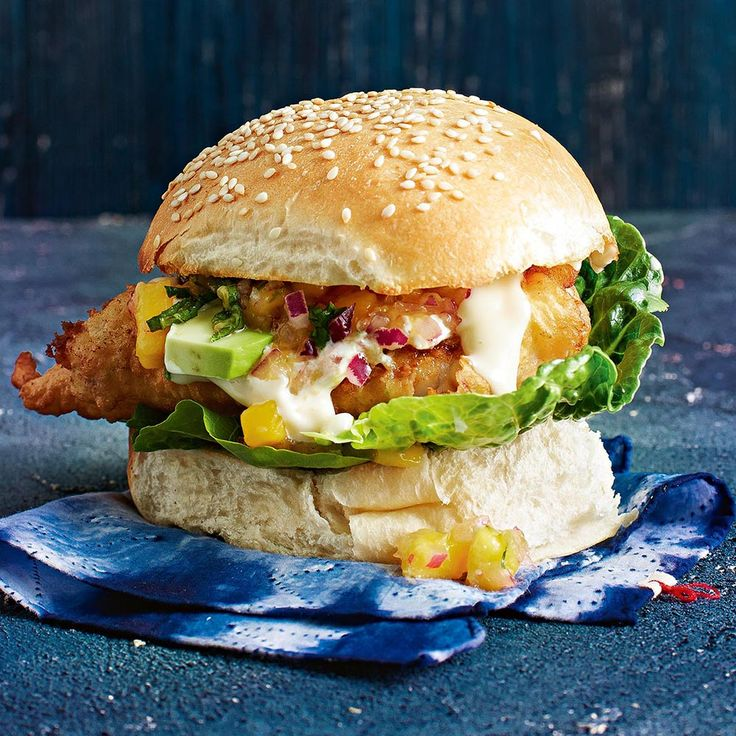 Battered Ling Burger  Top tip from Fresh Magazine: Ling is a mild flavoured fish perfect for burgers. There are no bones in the fillets and the fish holds well together.