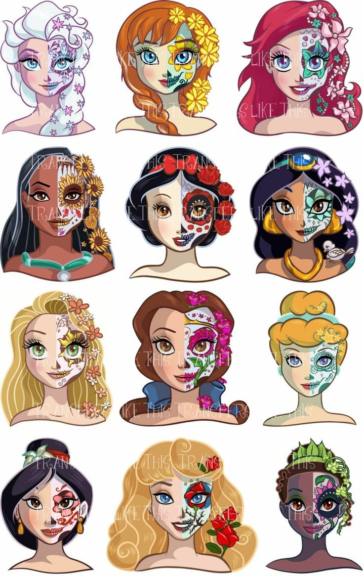 Sugar cranium disney princess day of the lifeless sticker wall deco lot dds