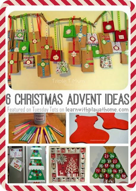 6 Christmas Advent ideas for kids. DIY Advent calendars and lots of ideas for daily Christmas activities (via Learn with Play at home)
