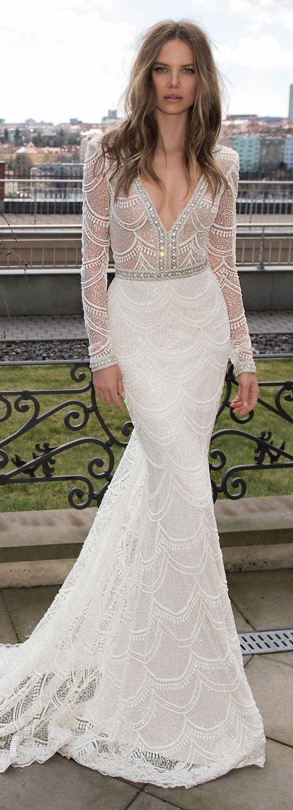 berta bridal v neck sequins vintage wedding dresses for fall 2015