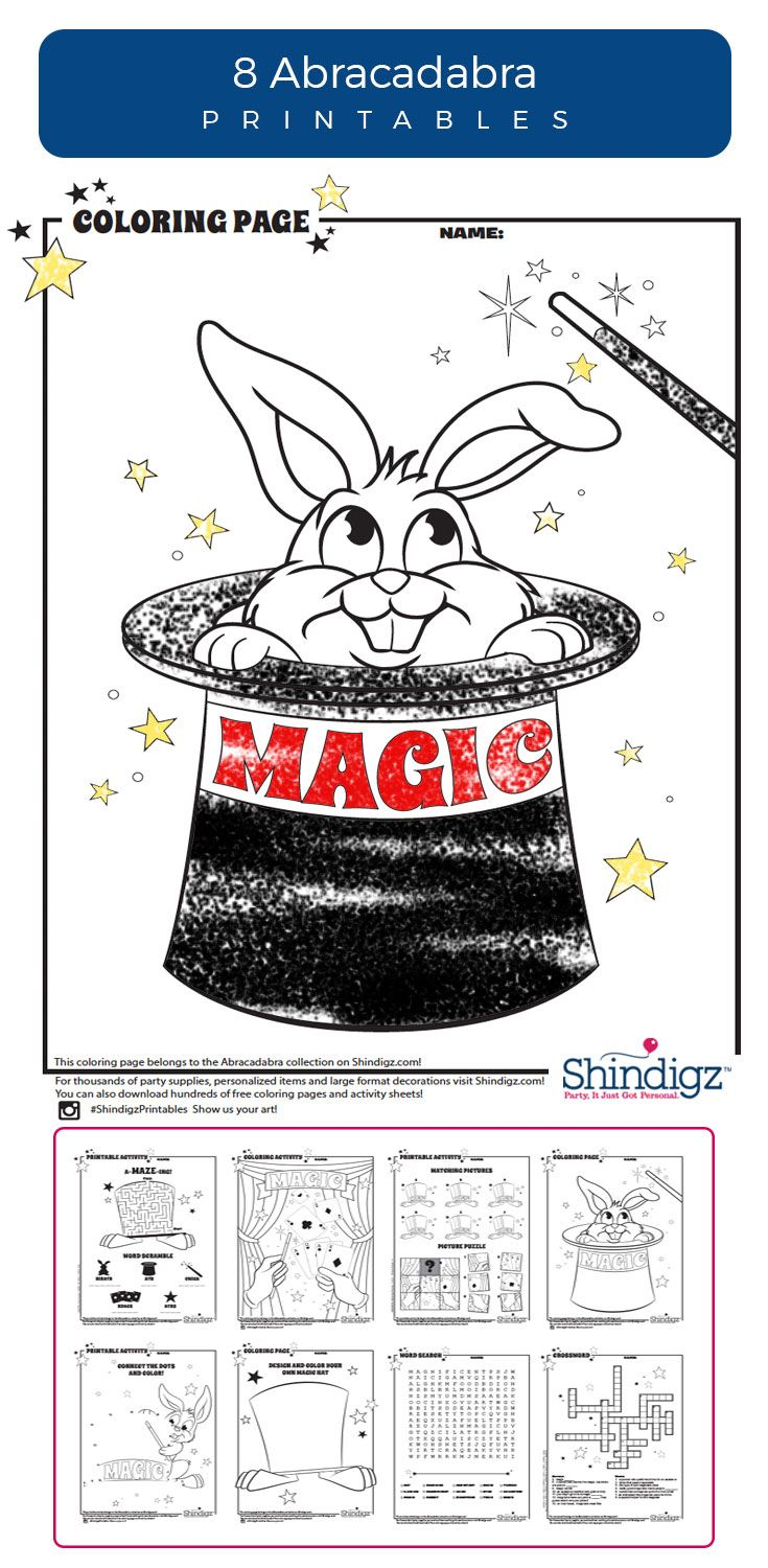 Free coloring pages camping theme - The Only Trick You Need At The Party Is These Magician Themed Printables From Shindigz Coloring Pages Activities Word Finds And More