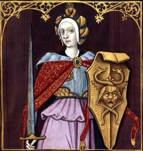 VI-Minerve (MINERVA) -- Giovanni Boccaccio (1313-1375), Le Livre des cleres et nobles femmes, v. 1488-1496, Cognac (France), traducteur anonyme. -- Illustrations painted by Robinet Testard -- BnF Français 599 fol. 9 -- See also at: http://expositions.bnf.fr/rouge/bande/grand/51.htm
