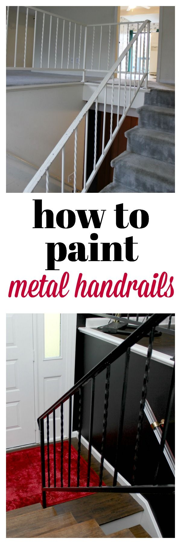 In this home decor makeover, see how Jenna of @rainonatinroof gives her entryway a facelift with a coat of black semi-gloss paint. In this DIY tutorial, you'll learn how to paint metal handrails and transform an outdated stairwell.