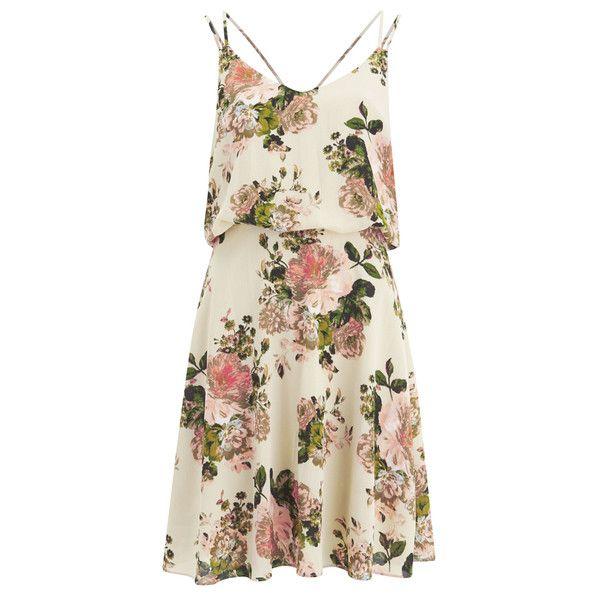 VILA Women's Flourish Spring Strap Dress - Pristine (€58) ❤ liked on Polyvore featuring dresses, vestidos, day dresses, white, white dress, v neck sundress, white strappy dress, white v neck dress and spaghetti strap sundress