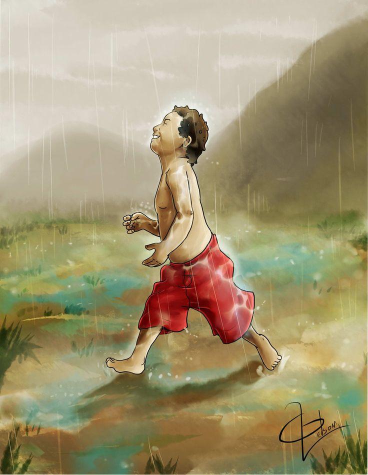 Correndo na chuva.