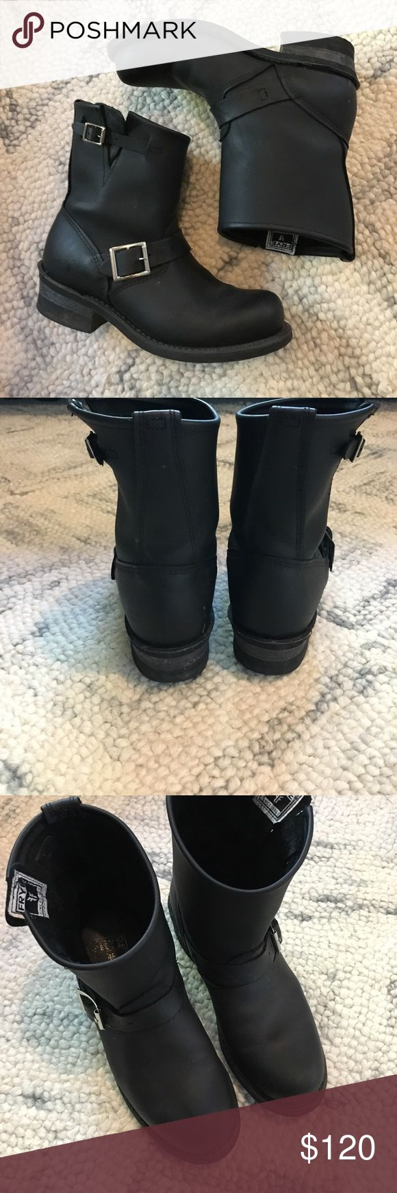 Frye engineer 8R boots, black in a 7.5 women's. Excellent condition. Only worn lightly for about six times. Besides the toe creases, it looks brand new and they're not even broken in yet. This is a total steal. I paid full price on these boots but don't like them because I'm a short gal and they make me look even shorter. Frye Shoes Combat & Moto Boots