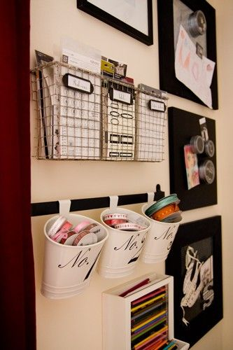 Love the hanging buckets for small stuff like receipts, coupons, markers etc. blog writer suggested it'd be cute to use the house number on these as a graphic element.