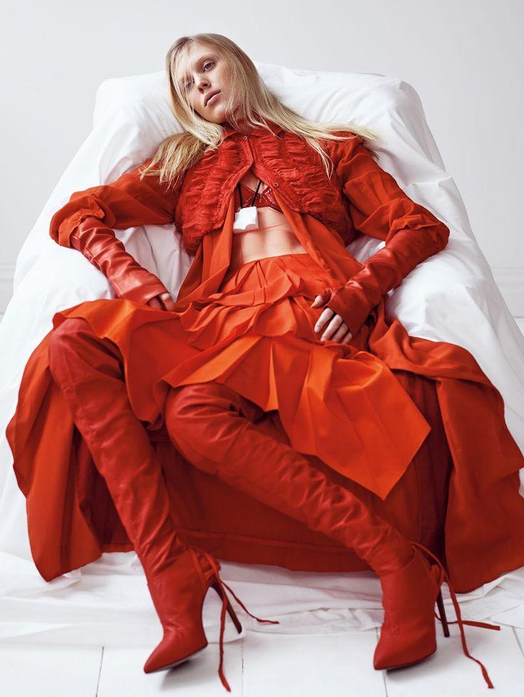 visual optimism; fashion editorials, shows, campaigns & more!: a study in scarlet: juliana schurig by nathaniel goldberg vogue china may 2015