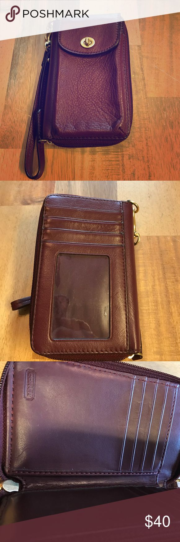 Authentic Coach leather wristlet/wallet Authentic Coach. Outside has spot for identification and credit cards. Other side has secure twist lock spot for cell phone. Inside has zipper coin pouch, credit card spots and space for cash. Like new. No flaws. Coach Bags Clutches & Wristlets