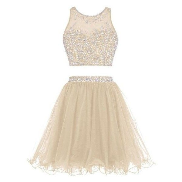 Tideclothes Short Beading Prom Dress Two Pieces Tulle Homecoming Dress ❤ liked on Polyvore featuring dresses, short dresses, 2 piece cocktail dress, homecoming dresses, two piece cocktail dresses and cocktail prom dress