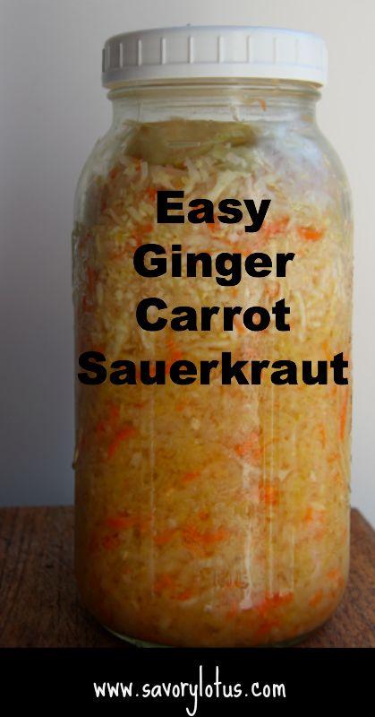 Easy Homemade Ginger Carrot Sauerkraut |  savorylotus.com #fermentedfoods #guthealth  #probiotics