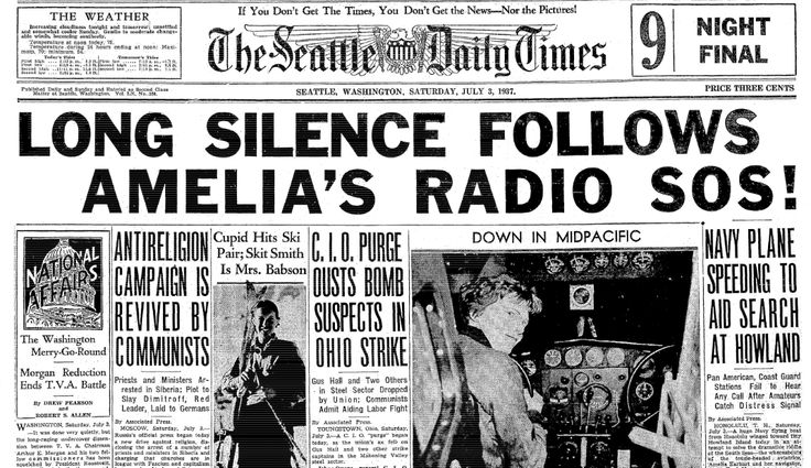 "An article about the disappearance of Amelia Earhart, published in the Seattle Daily Times newspaper (Seattle, Washington), 3 July 1937. Read more on the GenealogyBank blog: ""Gone: The Mysterious Disappearance of Amelia Earhart"" https://blog.genealogybank.com/gone-the-mysterious-disappearance-of-amelia-earhart.html"