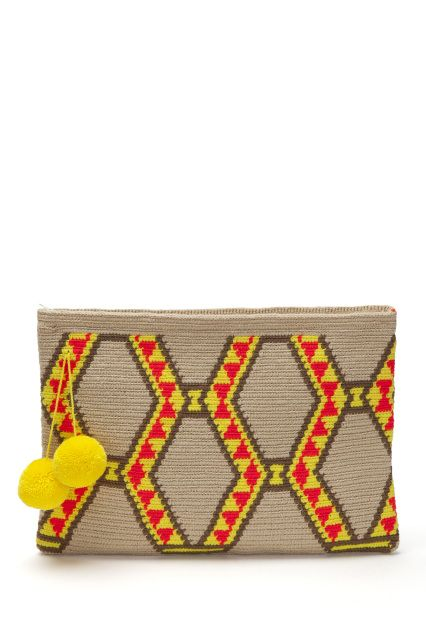 Festival Clutch - Sand with Pink and Yellow