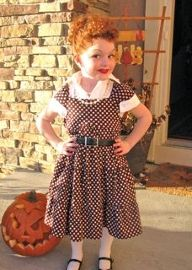 I Love Lucy. I would crack up if I saw a little redhead in this for Halloween! Then I would give her all of the candy.