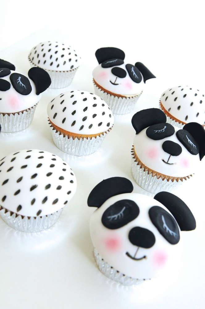 Check out these cupcakes at a panda birthday party! See more party planning ideas at CatchMyParty.com!