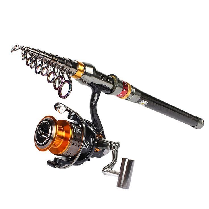 Telescopic fishing rod and reel combo set //Price: $95.08 & FREE Shipping //     #fishing  #bigfish #fishingrodlures