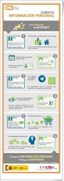 """""""Cuida tu información personal"""" es una sencilla y clara infografía, del Instituto Nacional de Ciberseguridad de España, en la que se aconsejan las medidas a tomar para no publicar en la red datos personales que comprometan la seguridad del internauta."""