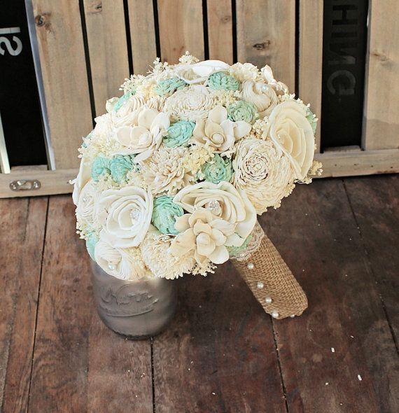Handgemachte natürliche Hochzeit Bouquet - große Elfenbein Mint Braut Brautjungfer Bouquet, rustikale Hochzeit, Alternative Bouquet, Keepsake Bouquet