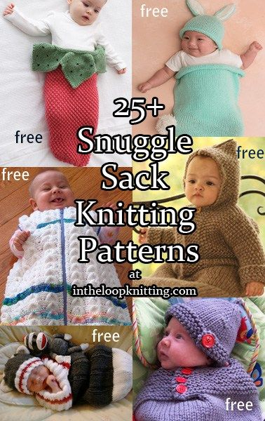 Knitting patterns for baby cocoons, sleep sacks, bunting bags, swaddlers, snuggle sacks. Most patterns are free.