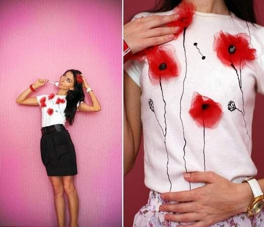 DIY poppy embellished t-shirt