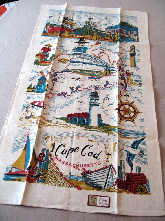 vintage cape cod kitchen towel