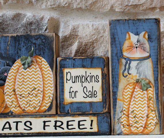 Fall Decor Wood Sign, Halloween, Pumpkins for Sale Cats Free Wood Blocks, Autumn Word Blocks, Primitive, Cat Lover, Tabby Calico Black Cat