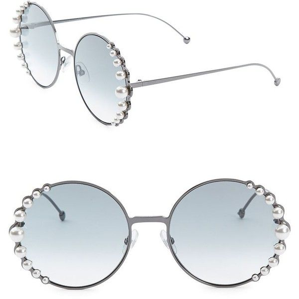 Fendi 58MM Round Sunglasses With Pearls (845 BGN) ❤ liked on Polyvore featuring accessories, eyewear, sunglasses, pearl glasses, oversized glasses, over sized sunglasses, fendi glasses and round frame sunglasses