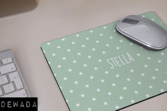 monogrammed MOUSEPAD mint litlle stars personalized by DeWadaSTORE