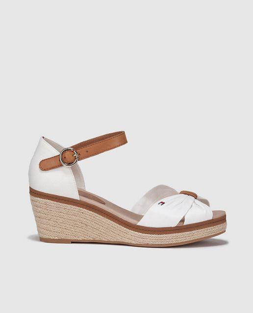 Sandalias de cuña de mujer Tommy Hilfiger blancas