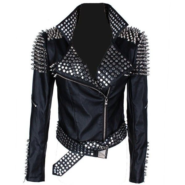 Punk rock Star Half Studded fitted Faux Leather woman jacket with... ($227) ❤ liked on Polyvore featuring outerwear, jackets, synthetic leather jacket, punk jacket, fake leather jacket, vegan jacket and studded jacket