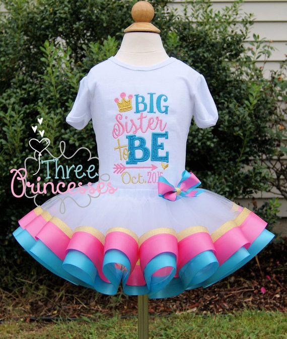 Big Sister Ribbon Tutu Outfit Gender Reveal by ThreePrincessBows