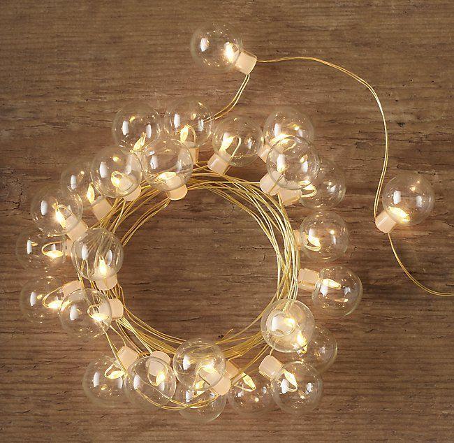 Restoration Hardware Party Globe Light String: Northern Starlit Clear Glass String Lights