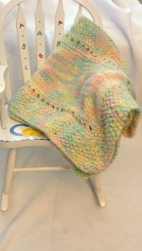 soft baby blanket knit afghan pink yellow blue green white