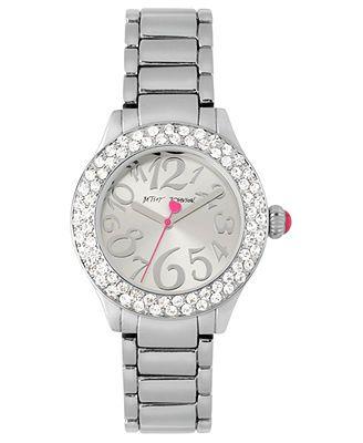 Betsey Johnson Watch, Women's Silver-Tone Bracelet 36mm BJ00291-01