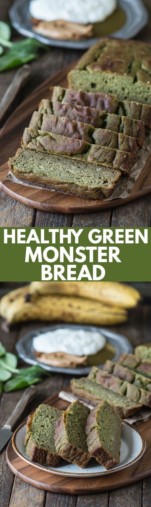 This green monster bread recipe is a healthy quick bread with no sugar, oil, or butter. Plus it has a sneaky green ingredient!