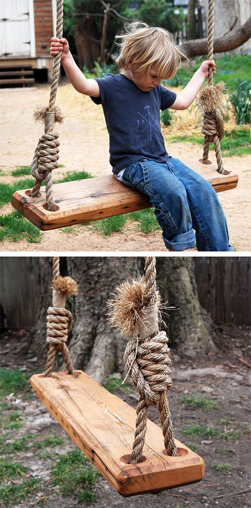 Make sure to hang the swing from a mature tree because if you select one of the higher branches, then adults can swing too. You will glide thru the air...much more fun then the swing set on the playground. Kids from all around the neighborhood will want to be at your house! Repurposed Tree Swing | dotandbo.com