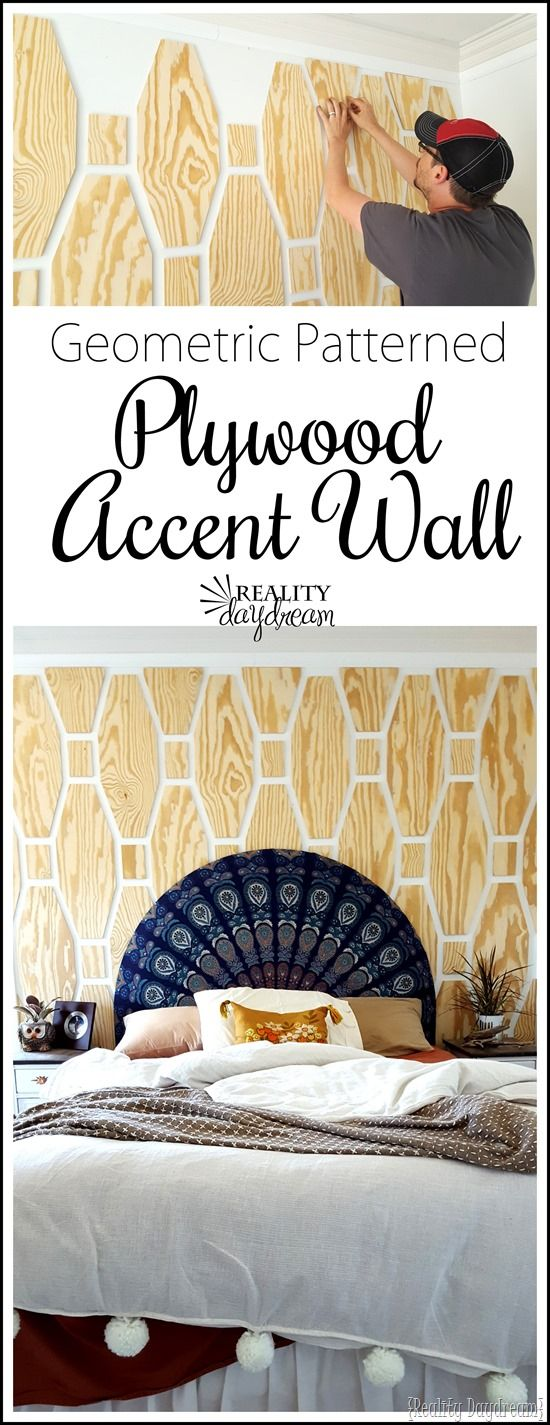 Learn how to make and install this Do it Yourself Geometric Plywood Accent Wall! {Reality Daydream} Full Step by Step Home Decor DIY Tutorial