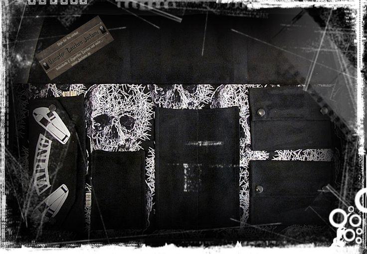 Tabakbeutel - Dampfrolle BIG, E-Zigaretten-Tasche, Pinhead,Skull - ein Designerstück von Dampfer-Taschen-Joclame bei DaWanda