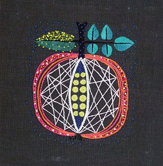 "Embroidery ""Äpplet"" design Kerstin Gavler, 1957."