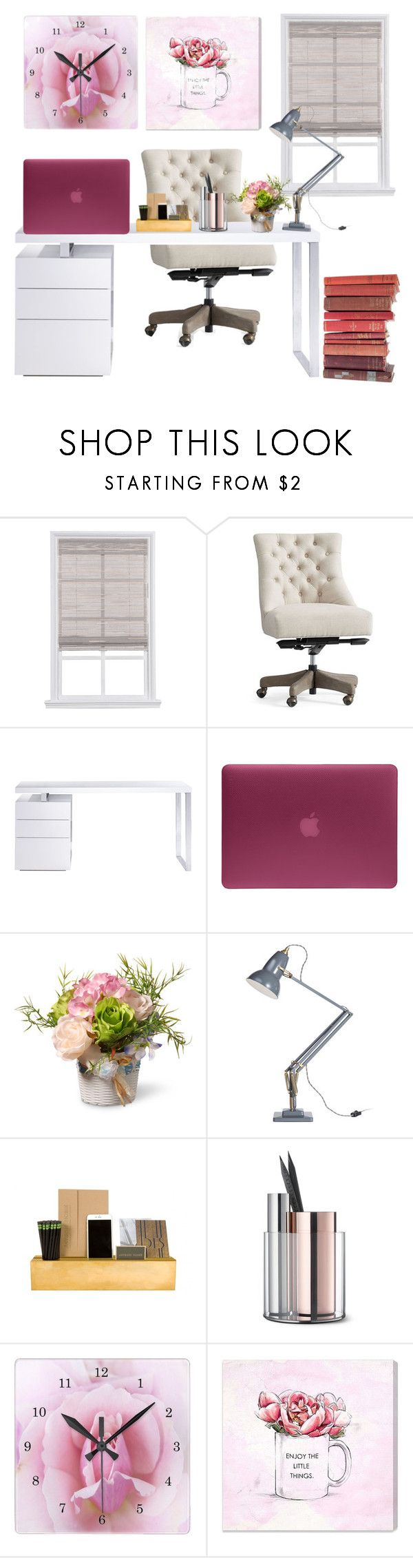 """Pretty desk"" by elisabetta-negro ❤ liked on Polyvore featuring interior, interiors, interior design, home, home decor, interior decorating, Pottery Barn, Bellini, Incase and National Tree Company"