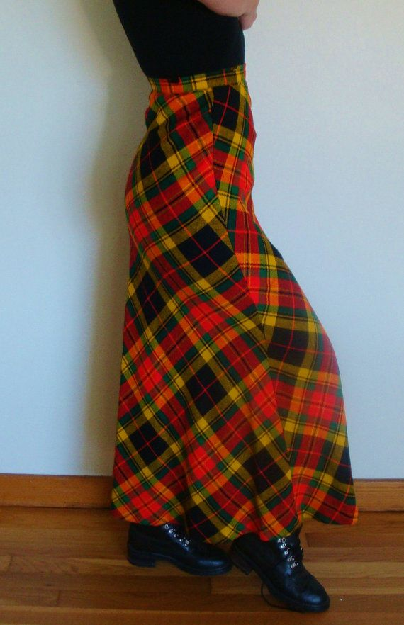 Vintage 70s Plaid Maxi Skirt High Waisted Red Yellow