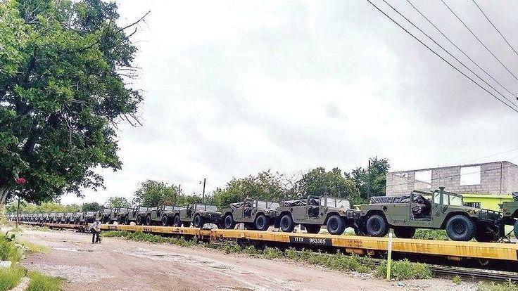 Cruzan cientos de vehículos militares de eu a méxico para combate al narco
