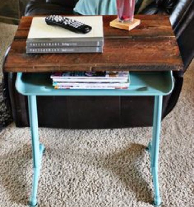 School desk as a side table