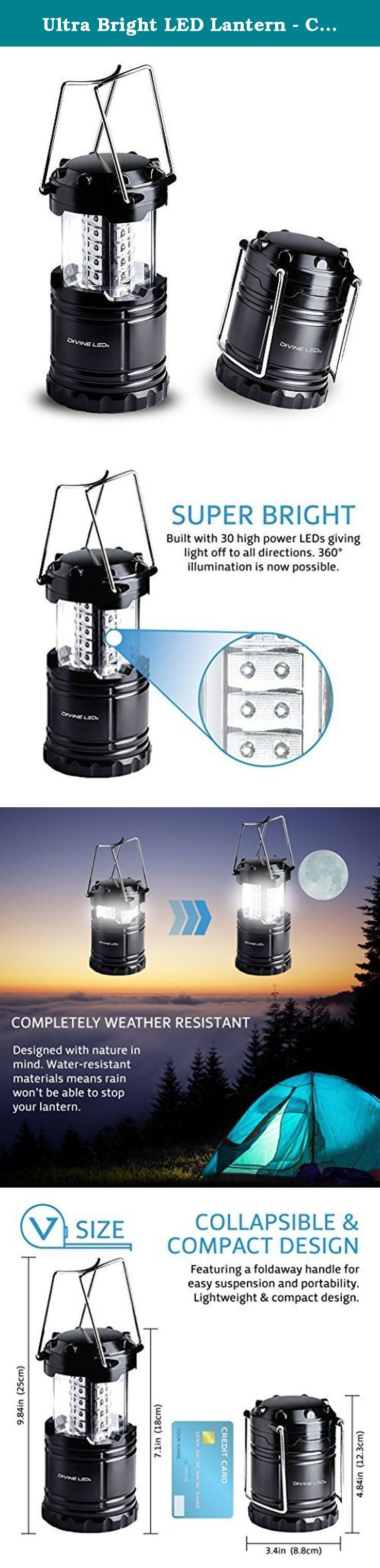 Ultra Bright LED Lantern - Camping Lantern - for Hiking, Emergencies, Hurricanes, Outages, Storms, Camping - Multi Purpose - Black - Divine LEDs. Built with Divincible military grade materials, this multi-purpose LED lantern is perfect for all of your needs. Introducing the best LED Lantern on Amazon Divine LEDs has once again revolutionized the way LED lanterns are made. Hand crafted with maximum brightness, durability and battery life.... this lantern will keep you lit no matter what…