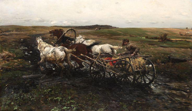ALFRED WIERUSZ-KOWALSKI (1849 - 1915)   NA WYŚCIGI, OK. 1892