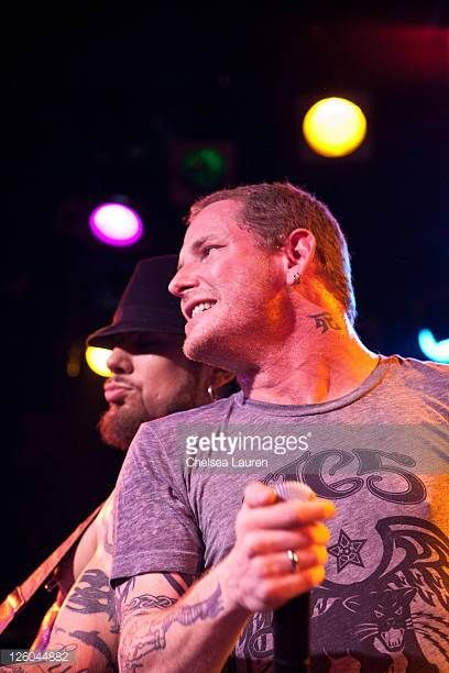 Guitarist Dave Navarro and vocalist Corey Taylor perform with Camp Freddy at The Roxy Theatre on December 11 2010 in West Hollywood California