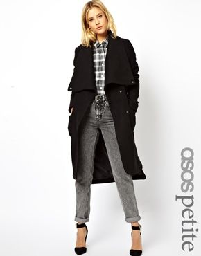 ASOS PETITE Coat With Stepped Hem and Funnel Neck