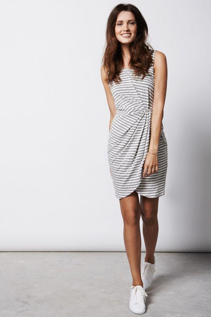 gestreepte jurk met drapering