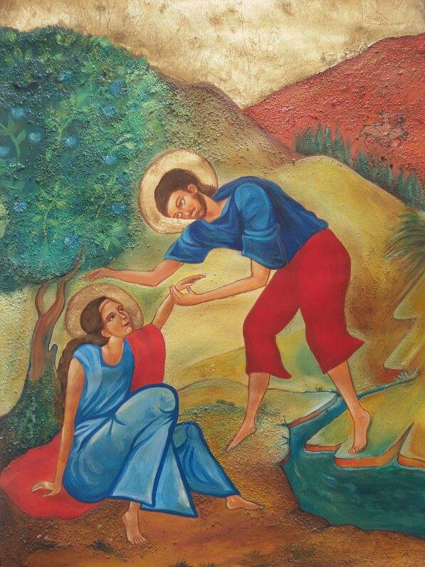 Scena del Cantico dei Cantici. Olio su tela.  Foglio ruvido F4, 50×70 cm.